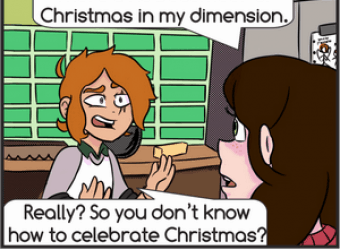 Christmas Dimension - Esther and Forrest - December 2018 Panel 1