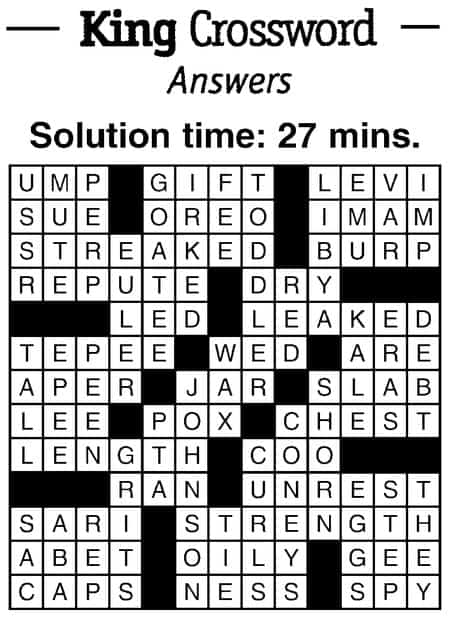 King Crossword January 2019 Dimple Times