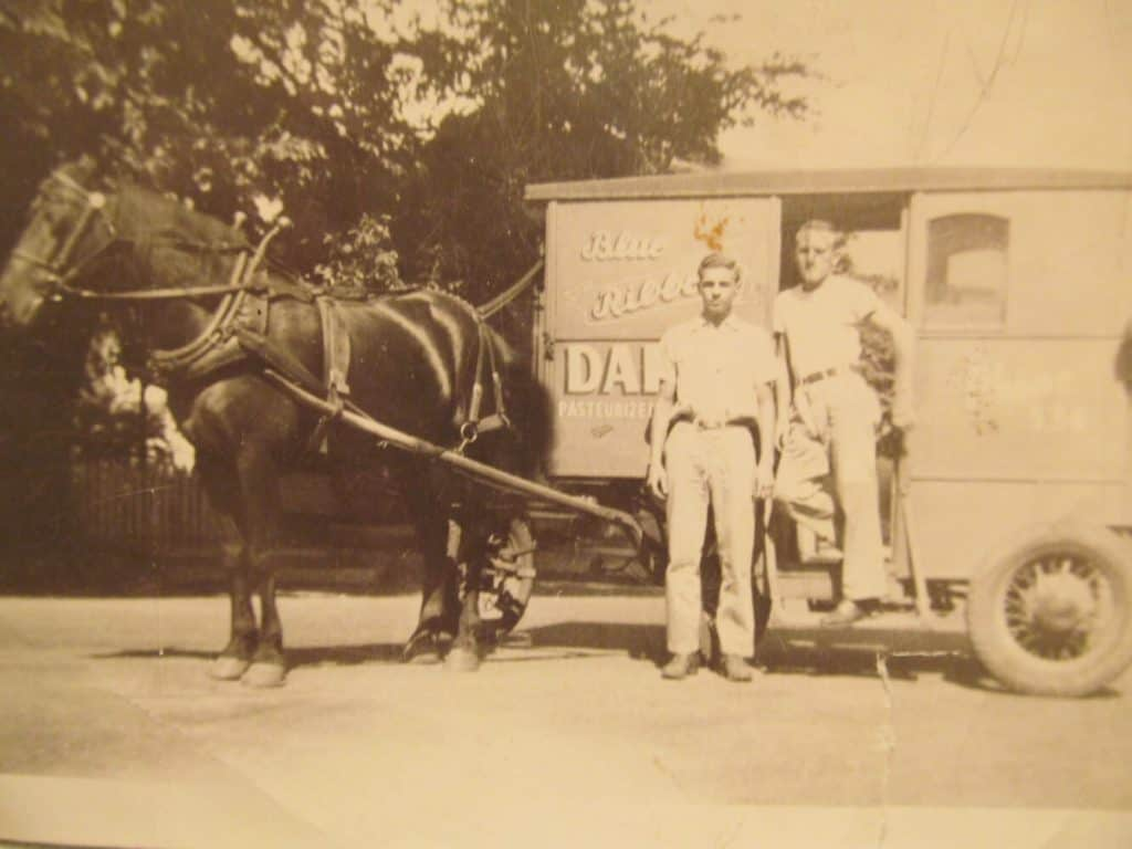 My uncle, Edward Heath standing on the Blue Ribbon milk wagon