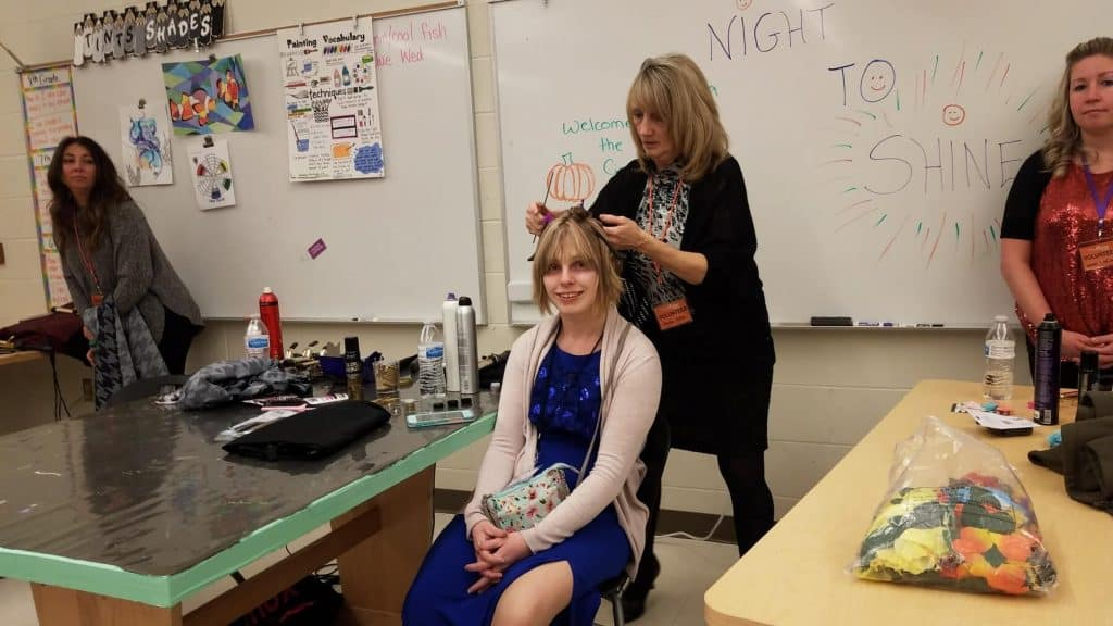 Prom Guest Getting Her Hair Done