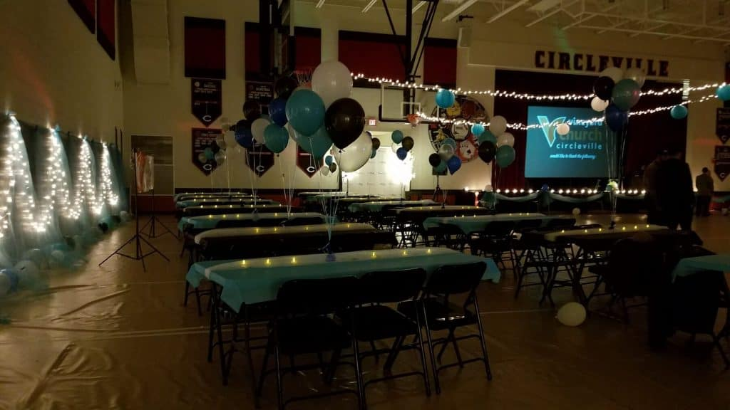 Circleville Middle School Gym Table Area for Night to Shine