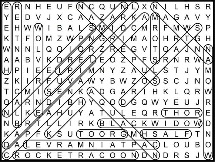 Superhero Word Search February 2019
