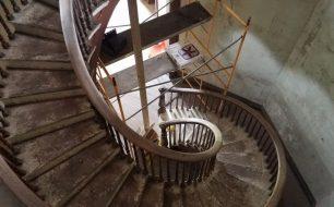 Spiral stairway inside Octagon House Looking Downward