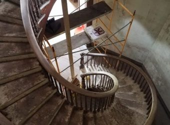 Spiral stairway inside Octagon House Looking Downward