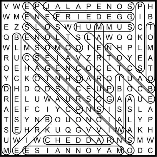 Burger Topings May 2019 Word Search