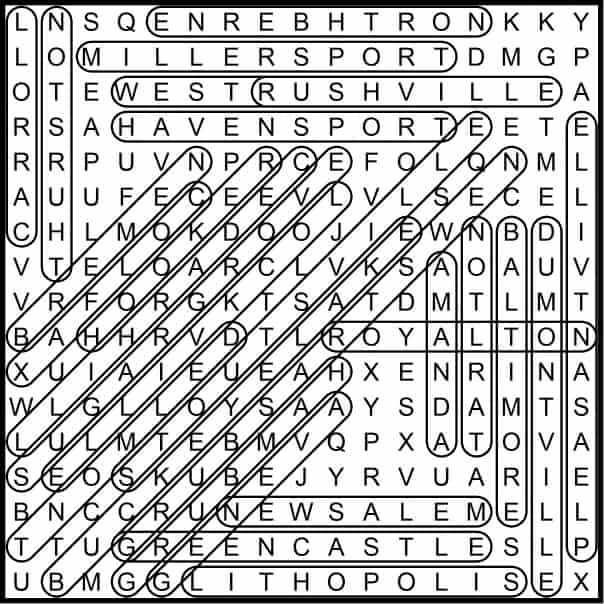 Fairfield Places Word Search May 2019