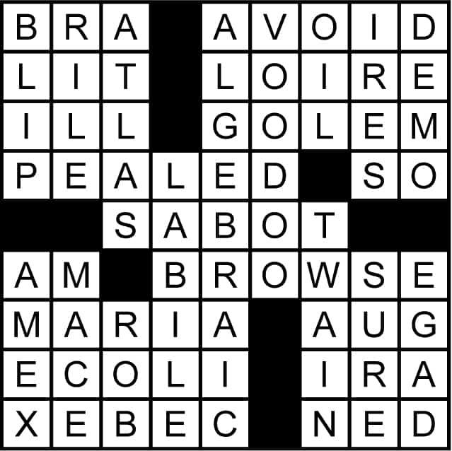 Roadside sign crossword puzzle