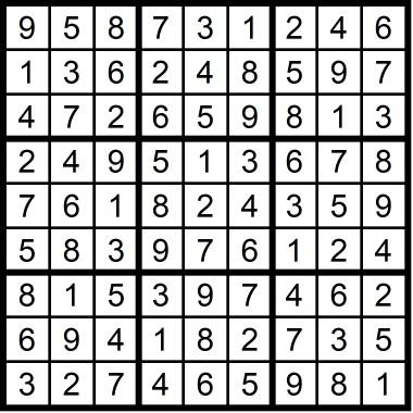 Sudoku Very Easy May 2019