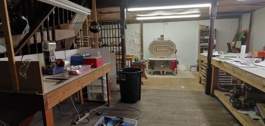 Studio Area inside Bernie and Max's Stained Glass Studio