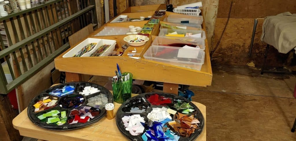 Workshop Table inside Bernie and Max's Stained Glass Studio