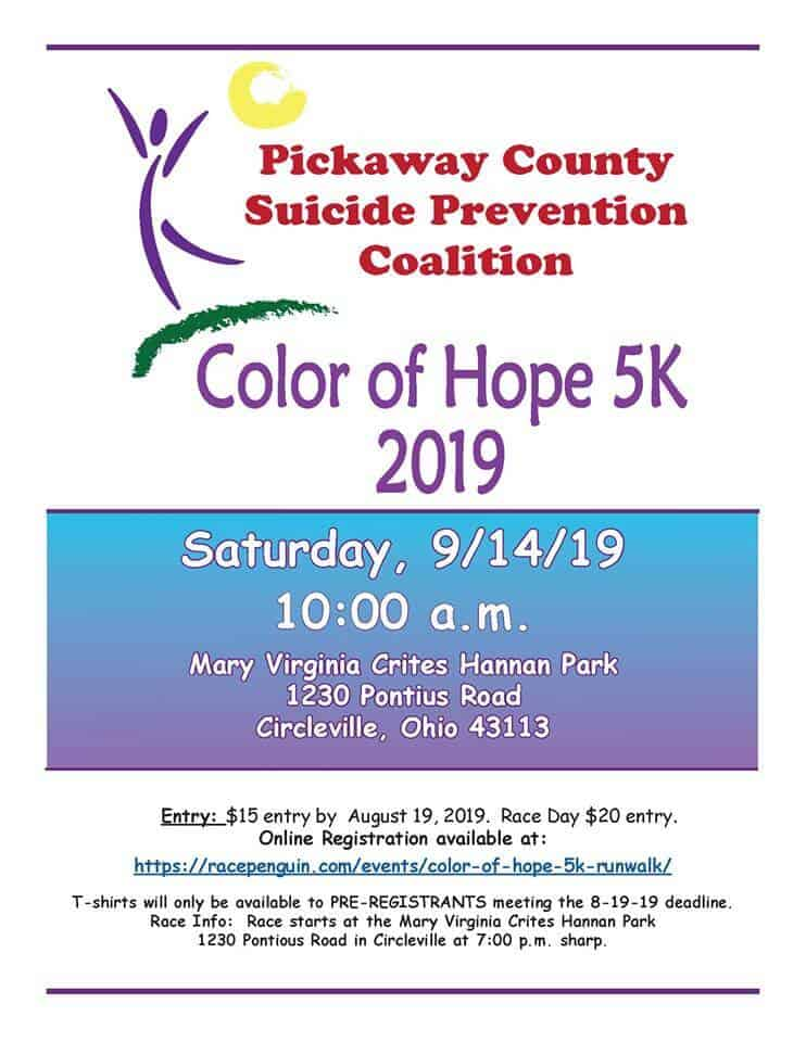 Pickaway County Suicide Prevention Coalition Color of Hope 5k Flyer