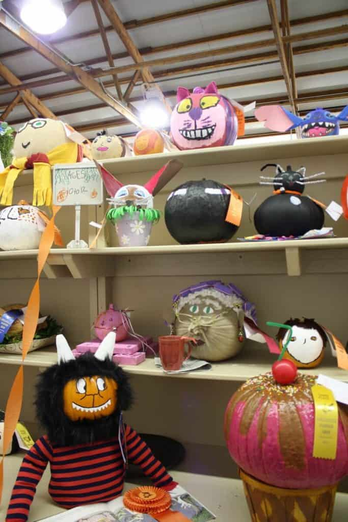 Decorated gourds and pumpkins