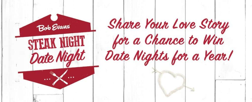 Share your love story for a chance to win dinner for a year from Bob Evans
