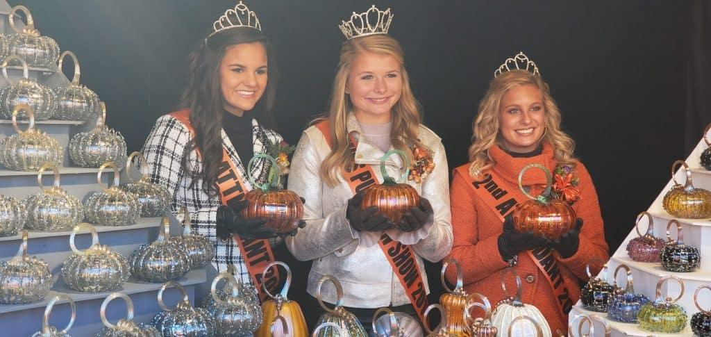 Miss Pumpkin Show and Her Court Visiting Jack Pines Pumpkins