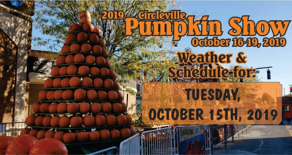 Pumpkin Show schedule and weather for October 15, 2019
