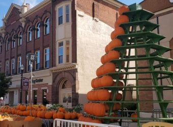 Pumpkin Tower Set Up for the 2019 Circleville Pumpkin Show