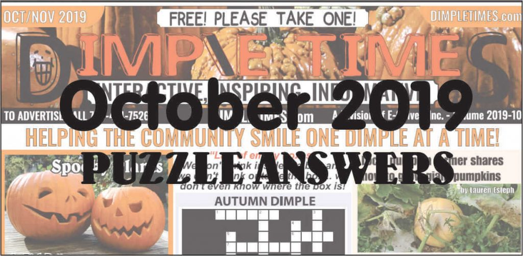 October 2019 Dimple Times Newspaper Puzzle Solutions