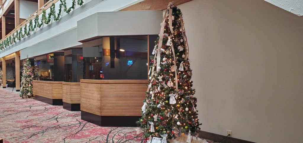 Christmas Trees in Hallway at Deer Creek Lodge