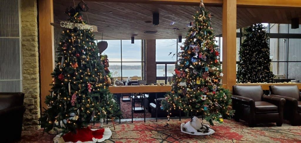 Christmas Trees in Seating Area at Deer Creek Lodge