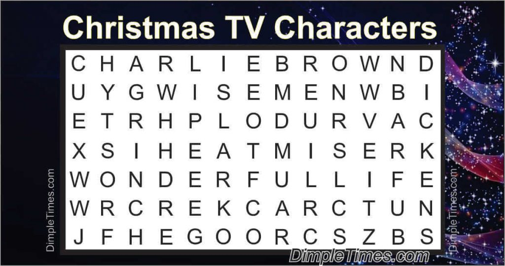 Christmas TV Show Characters Word Search 2019