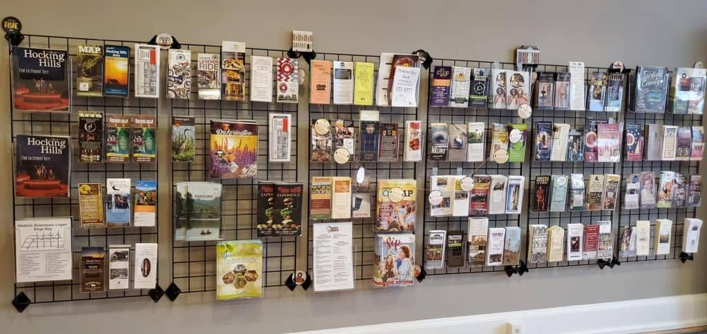 Display Rack inside Visit Fairfield County Ohio filled with local information