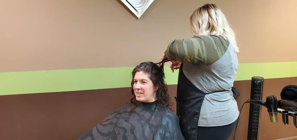 Hair Getting Trimmed By Stylist Rachel
