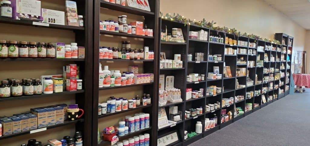 Shelves of Supplements inside Healthy Life Solutions