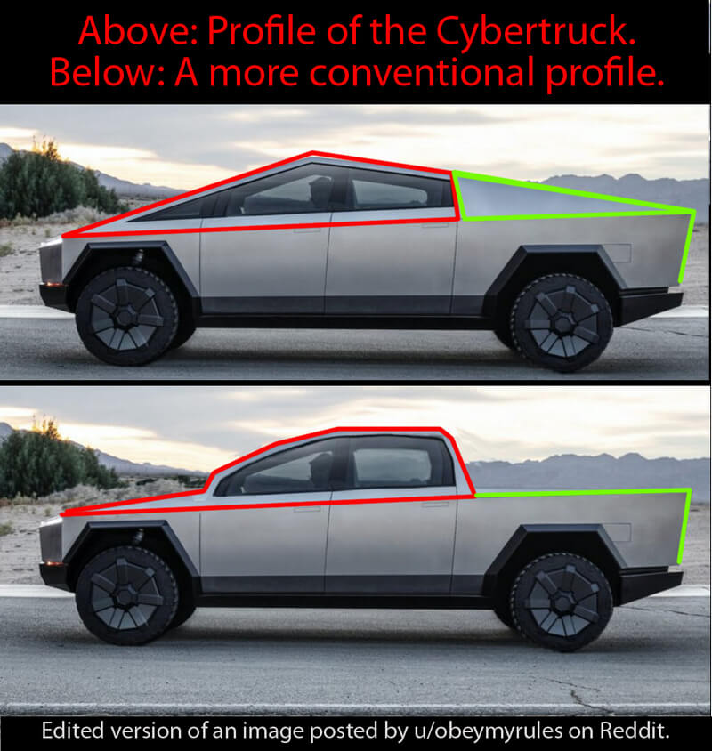 Cybertruck compared to conventional truck