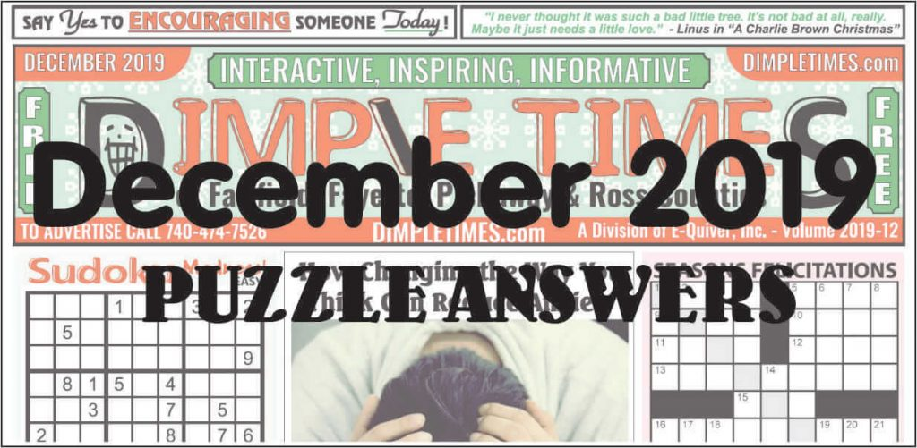 December 2019 Dimple Times Newspaper Puzzle Solutions