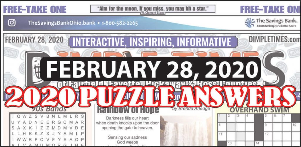 February 28, 2020 Dimple Times Newspaper Puzzle Solutions