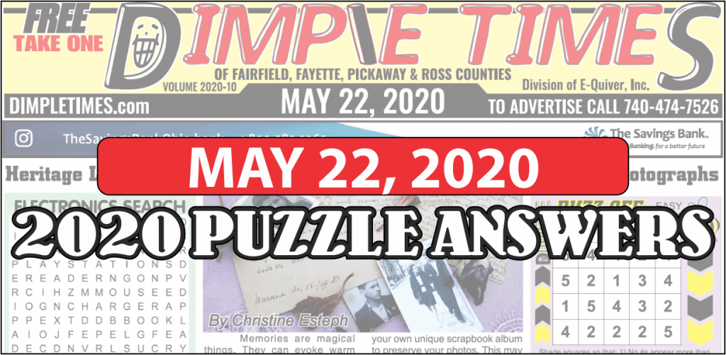 May 22, 2020 - Dimple Times Newspaper Puzzle Solutions