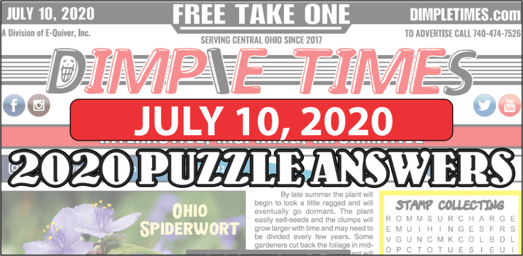 July 10, 2020  - Dimple Times Newspaper Puzzle Solutions