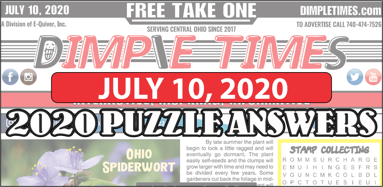 July 10 2020 Puzzle Answers