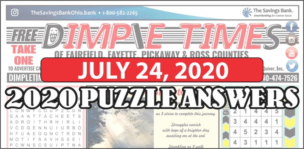 July 24, 2020 - Dimple Times Newspaper Puzzle Solutions