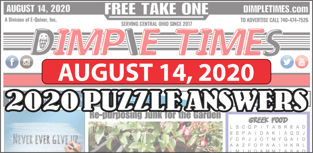 August 14, 2020 Dimple Times Newspaper Puzzle Solutions