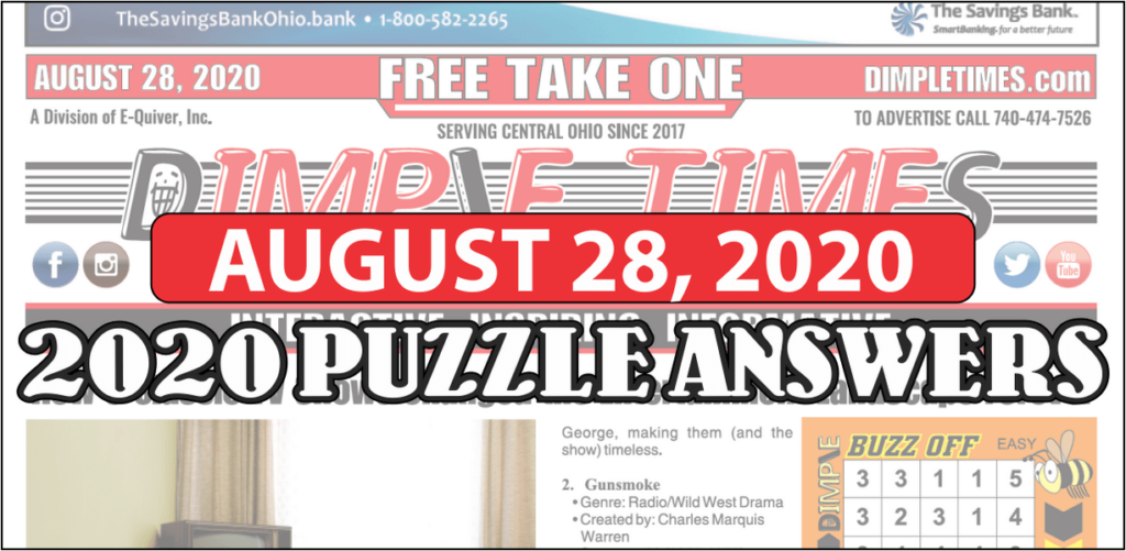 August 28, 2020 Dimple Times Newspaper Puzzle Solutions