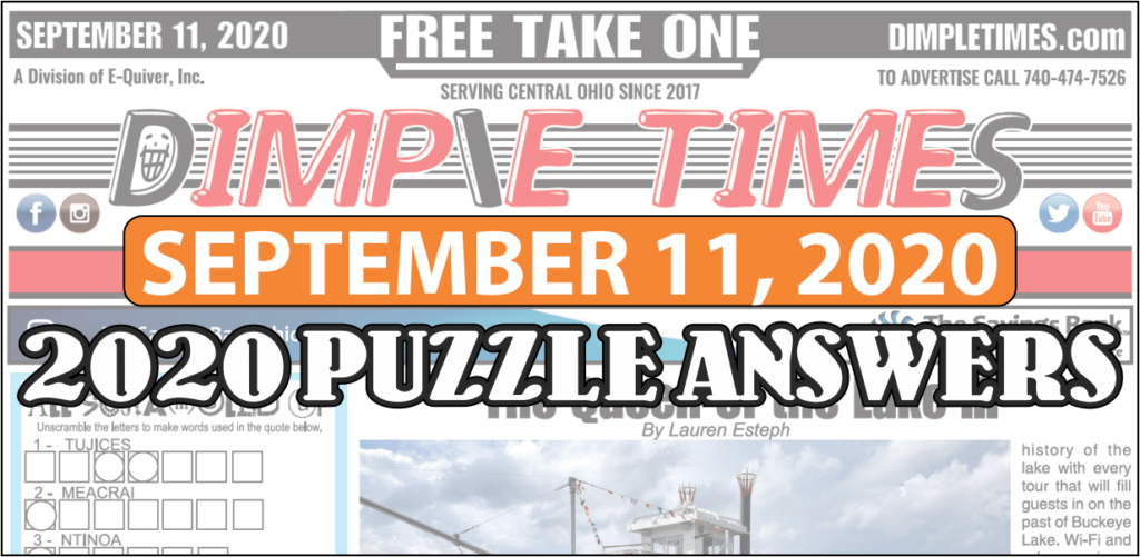 September 11, 2020 Dimple Times Newspaper Puzzle Solutions