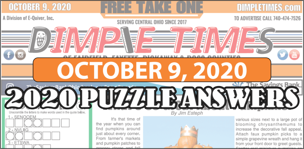 October 9, 2020 – Dimple Times Newspaper Puzzle Solutions