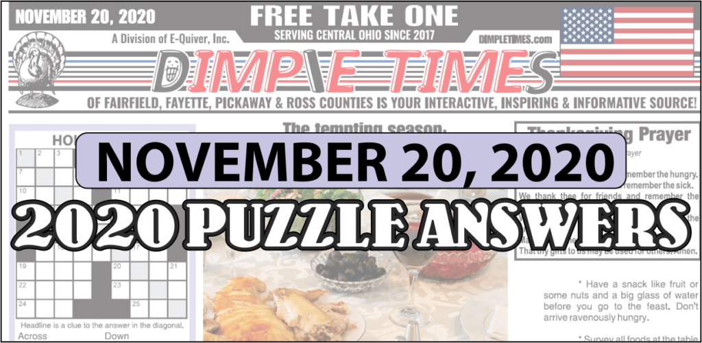 November 20, 2020 Dimple Times Newspaper Puzzle Solutions