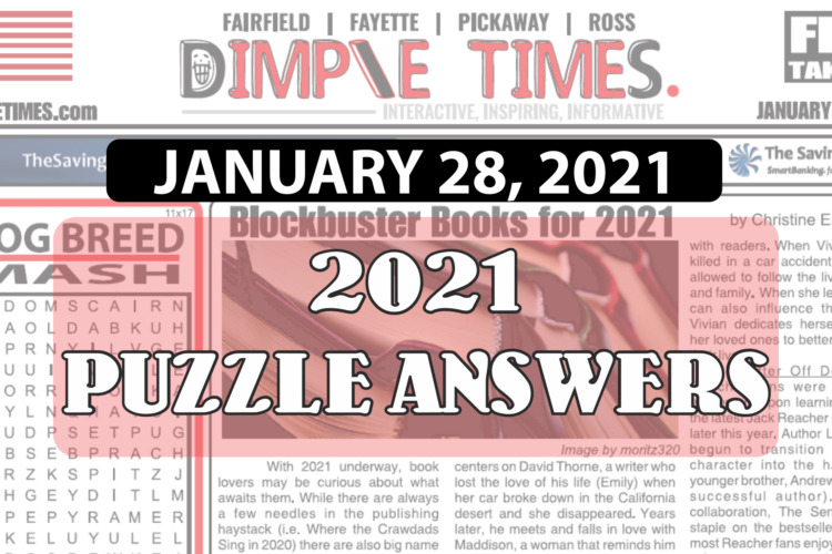 Puzzle Answers January 28, 2021