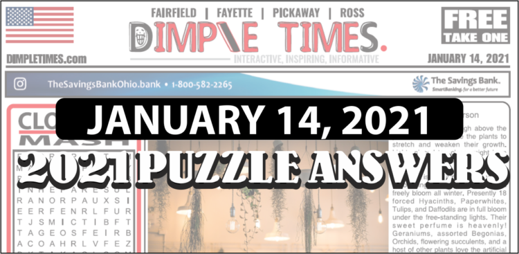 Puzzle Answers for February 14, 2021