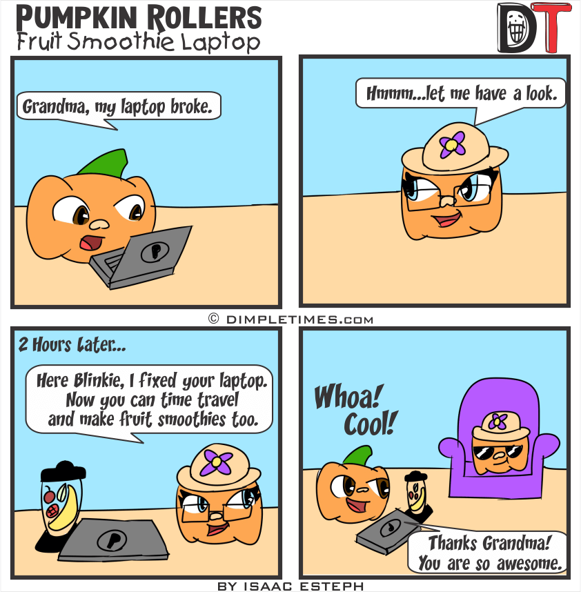 Pumpkin Roller Comic - Fruit Smoothie Laptop - January 10th, 2020